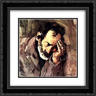Old Man Nicolae the Fiddler 20x20 Black or Gold Ornate Framed and Double Matted Art Print by Stefan Luchian