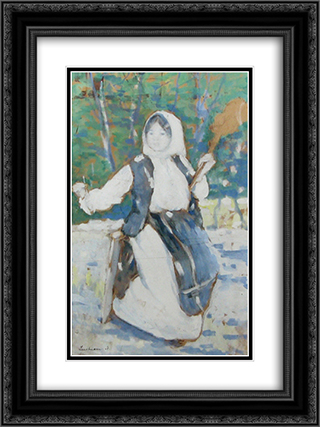 Peasant girl 18x24 Black or Gold Ornate Framed and Double Matted Art Print by Stefan Luchian