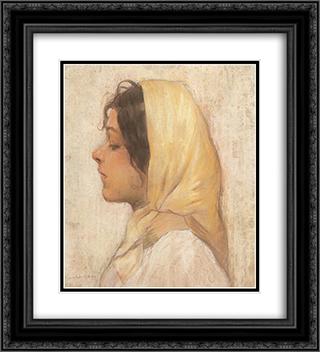 Peasant Woman with Yellow Headscarf 20x22 Black or Gold Ornate Framed and Double Matted Art Print by Stefan Luchian