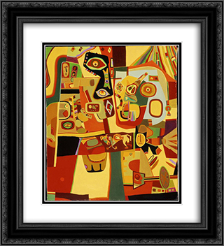 Man Menacing Woman 20x22 Black or Gold Ornate Framed and Double Matted Art Print by Steve Wheeler