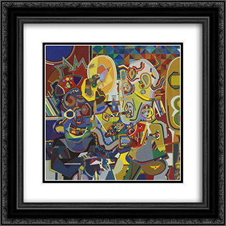 Untitled W22 (Man Looking at Pork Chop) 20x20 Black or Gold Ornate Framed and Double Matted Art Print by Steve Wheeler