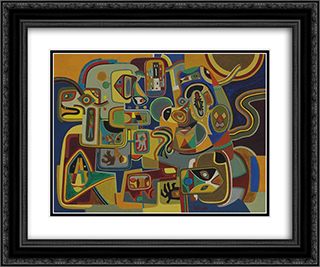 Young Man Talking to His Mother - in - Law 24x20 Black or Gold Ornate Framed and Double Matted Art Print by Steve Wheeler