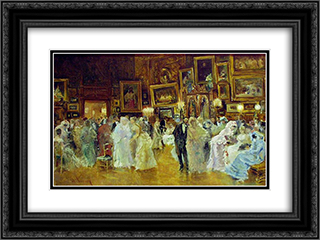 Costume Party in the Workshop 24x18 Black or Gold Ornate Framed and Double Matted Art Print by Theodor Aman