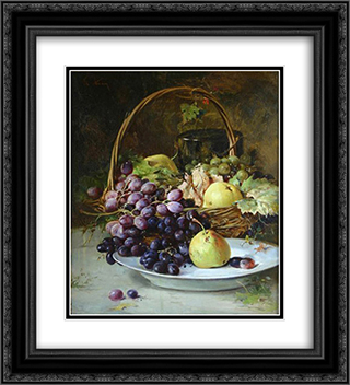 Fruit Basket 20x22 Black or Gold Ornate Framed and Double Matted Art Print by Theodor Aman