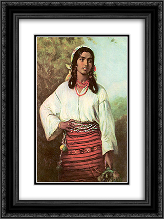 Gipsy Girl 18x24 Black or Gold Ornate Framed and Double Matted Art Print by Theodor Aman