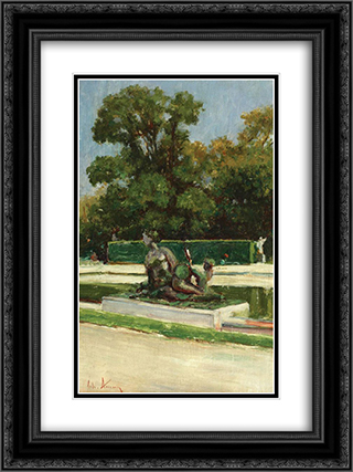 Jardin du Luxembourg 18x24 Black or Gold Ornate Framed and Double Matted Art Print by Theodor Aman