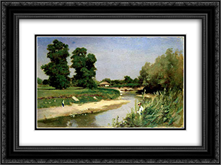 Landscape With River and Trees 24x18 Black or Gold Ornate Framed and Double Matted Art Print by Theodor Aman