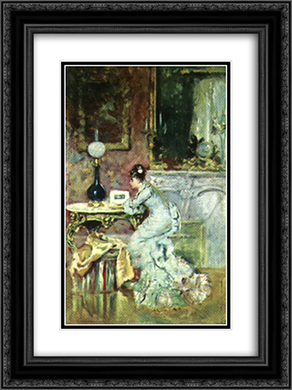 Looking in an Album 18x24 Black or Gold Ornate Framed and Double Matted Art Print by Theodor Aman