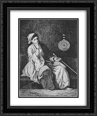 Odalisque 20x24 Black or Gold Ornate Framed and Double Matted Art Print by Theodor Aman