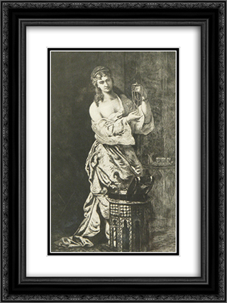 Odalisque With Pearls 18x24 Black or Gold Ornate Framed and Double Matted Art Print by Theodor Aman