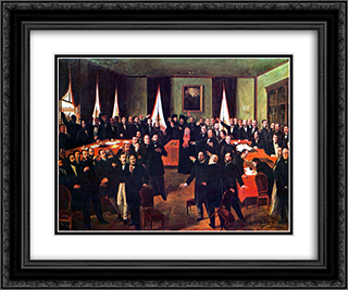 Proclaiming the Union 24x20 Black or Gold Ornate Framed and Double Matted Art Print by Theodor Aman