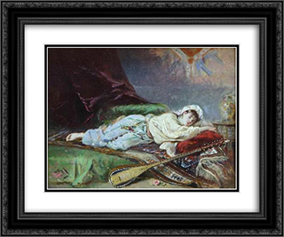 Reclining Odalisque 24x20 Black or Gold Ornate Framed and Double Matted Art Print by Theodor Aman
