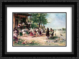 Round-dance at Aninoasa 24x18 Black or Gold Ornate Framed and Double Matted Art Print by Theodor Aman