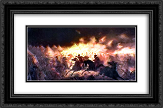 The Battle With Torches 24x16 Black or Gold Ornate Framed and Double Matted Art Print by Theodor Aman