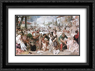 The Feasting Boyars Taken by Surprise by Vlad the Impaler's Envoys 24x18 Black or Gold Ornate Framed and Double Matted Art Print by Theodor Aman