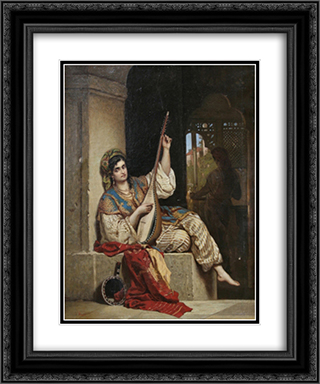 The Lute Singer 20x24 Black or Gold Ornate Framed and Double Matted Art Print by Theodor Aman