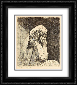 The Worry 20x22 Black or Gold Ornate Framed and Double Matted Art Print by Theodor Aman