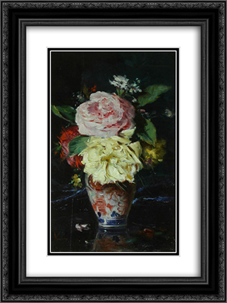 Vase with Flowers 18x24 Black or Gold Ornate Framed and Double Matted Art Print by Theodor Aman