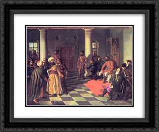 Vlad the Impaler and the Turkish Envoys 24x20 Black or Gold Ornate Framed and Double Matted Art Print by Theodor Aman