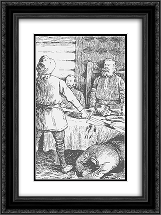 Asbjoern Sigurdssons Drap Paa Tore Sel 01 18x24 Black or Gold Ornate Framed and Double Matted Art Print by Theodor Severin Kittelsen