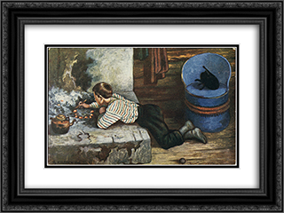 Askeladdens adventure 24x18 Black or Gold Ornate Framed and Double Matted Art Print by Theodor Severin Kittelsen