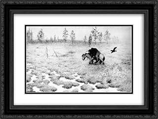 Black Death 24x18 Black or Gold Ornate Framed and Double Matted Art Print by Theodor Severin Kittelsen