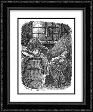 Brownie Mocks at the Cat 20x24 Black or Gold Ornate Framed and Double Matted Art Print by Theodor Severin Kittelsen