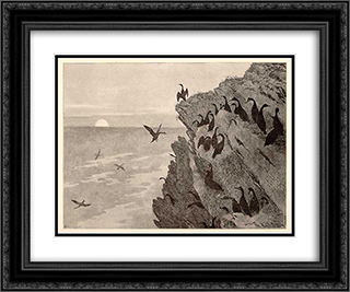 Cormorant 24x20 Black or Gold Ornate Framed and Double Matted Art Print by Theodor Severin Kittelsen