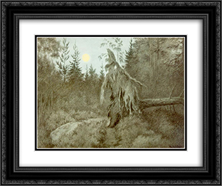 Creepy, Crawly, Rustling, Bustling 24x20 Black or Gold Ornate Framed and Double Matted Art Print by Theodor Severin Kittelsen