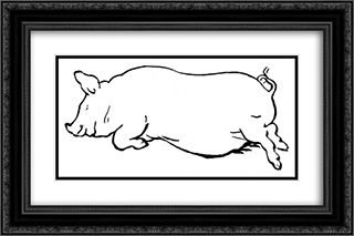 Sleeping Pig 24x16 Black or Gold Ornate Framed and Double Matted Art Print by Theodor Severin Kittelsen