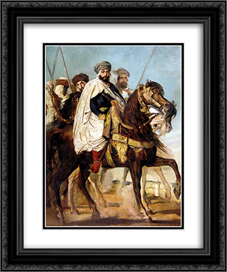 Ali Ben-Hamet, Caliph of Constantine and Chief of the Haractas, Followed by his Escort 20x24 Black or Gold Ornate Framed and Double Matted Art Print by Theodore Chasseriau