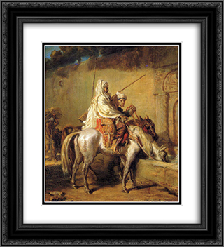 Arabes faisant boire leurs chevaux 20x22 Black or Gold Ornate Framed and Double Matted Art Print by Theodore Chasseriau