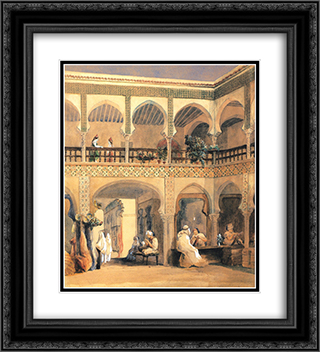 Bazaar in Orleans 20x22 Black or Gold Ornate Framed and Double Matted Art Print by Theodore Chasseriau