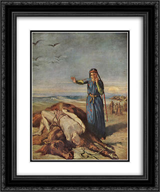 Cossack girl at Mazeppa 's body 20x24 Black or Gold Ornate Framed and Double Matted Art Print by Theodore Chasseriau