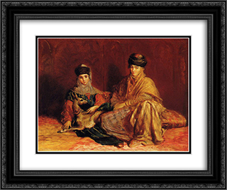 Femme et fillette de Constantine avec une gazelle 24x20 Black or Gold Ornate Framed and Double Matted Art Print by Theodore Chasseriau