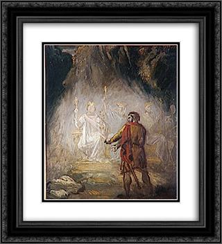 Macbeth, the apparition of the kings 20x22 Black or Gold Ornate Framed and Double Matted Art Print by Theodore Chasseriau