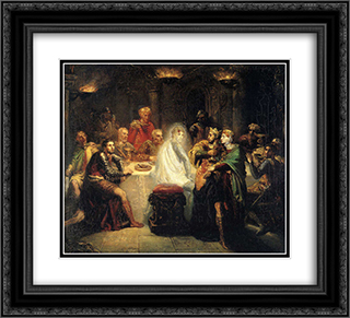 Macbeth apercevant le spectre de Banco 22x20 Black or Gold Ornate Framed and Double Matted Art Print by Theodore Chasseriau
