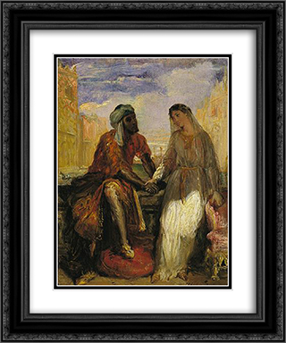 Othello and Desdemona in Venice 20x24 Black or Gold Ornate Framed and Double Matted Art Print by Theodore Chasseriau