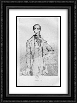 Portrait de Lamartine 18x24 Black or Gold Ornate Framed and Double Matted Art Print by Theodore Chasseriau