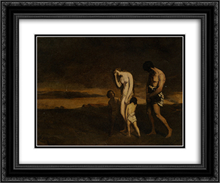 Punishment of Cain 24x20 Black or Gold Ornate Framed and Double Matted Art Print by Theodore Chasseriau