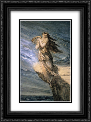 Sappho Leaping into the Sea from the Leucadian Promontory 18x24 Black or Gold Ornate Framed and Double Matted Art Print by Theodore Chasseriau