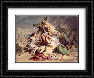 Scene de bataille, guerrier gaulois a cheval 24x20 Black or Gold Ornate Framed and Double Matted Art Print by Theodore Chasseriau