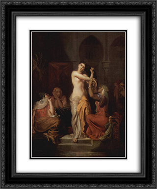 Scene de Harem, Femme Mauresque a sa toilette 20x24 Black or Gold Ornate Framed and Double Matted Art Print by Theodore Chasseriau