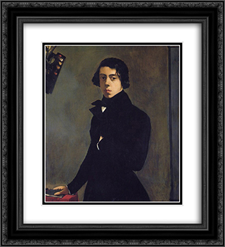 Self-Portrait in a Redingote 20x22 Black or Gold Ornate Framed and Double Matted Art Print by Theodore Chasseriau
