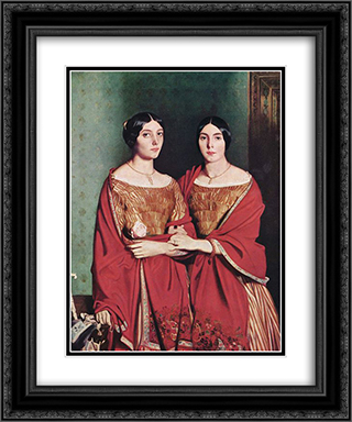 The Two Sisters 20x24 Black or Gold Ornate Framed and Double Matted Art Print by Theodore Chasseriau