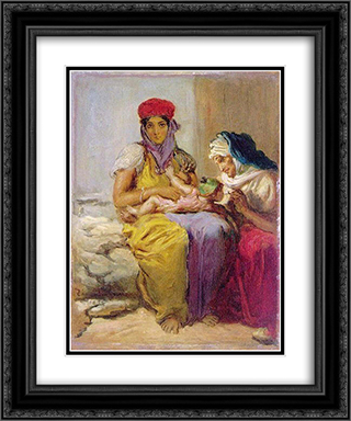Young Moorish Woman Nursing Her Child 20x24 Black or Gold Ornate Framed and Double Matted Art Print by Theodore Chasseriau