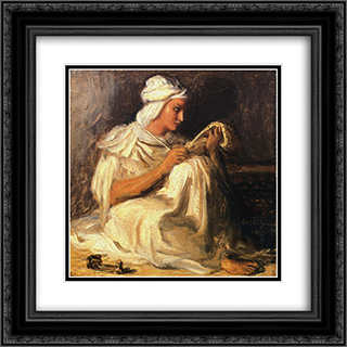 Young Teleb Seated 20x20 Black or Gold Ornate Framed and Double Matted Art Print by Theodore Chasseriau