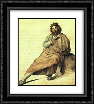 An Italian montagnard 20x22 Black or Gold Ornate Framed and Double Matted Art Print by Theodore Gericault