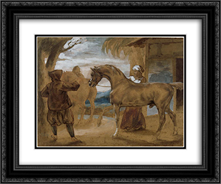 Arabian Stallion led by two Arabians to breed 24x20 Black or Gold Ornate Framed and Double Matted Art Print by Theodore Gericault