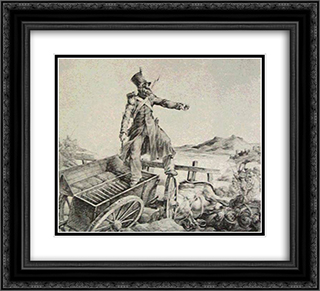 Artillery caisson 22x20 Black or Gold Ornate Framed and Double Matted Art Print by Theodore Gericault